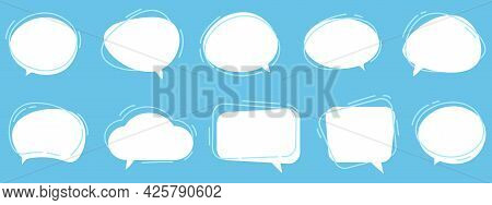 Vector Set Of Speech Bubbles. Dialog Box Icon, Message Template. White Clouds For Text, Lettering. D