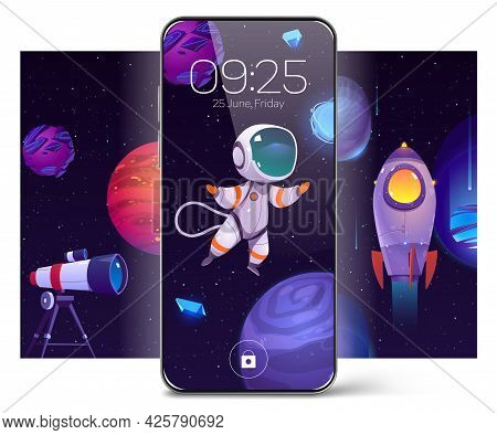 Smartphone With Screensaver Wallpaper With Astronaut In Outer Space, Alien Planets And Rocket. Vecto