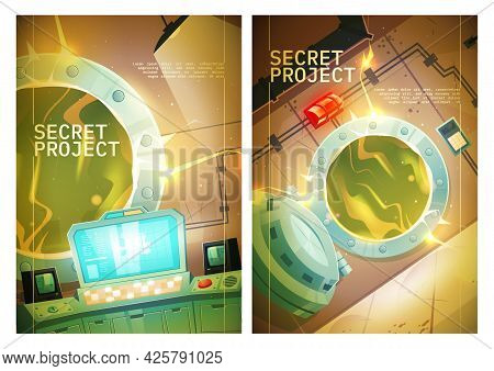 Secret Project Poster With Control Panel Room In Nuclear Power Plant With Open Door To Reactor. Vect