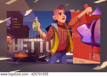 Graffiti Painter In Night Ghetto Cartoon Landing Page. Boy Teenager Painting On Brick Wall With Aero