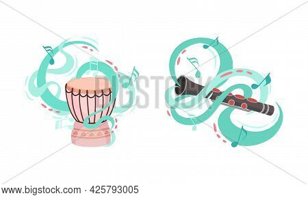 Musical Instruments With Flute And Drum Twisted With Decorative Swirling Line And Note Vector Set