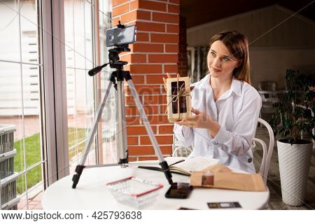 Culinary Blogger Creating Content In Small Restaurant Or Cafe Business Woman Girl Sharing Online Pro