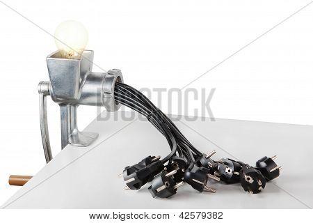 Kreative Idee mit der Lampe und die Fleisch-Grinder-Elektric.