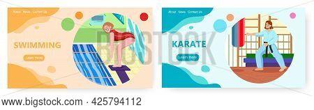 Sport Landing Page Design, Website Banner Vector Template Set. Swimming And Karate Sport Activities.