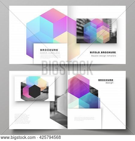 Vector Layout Of Two Covers Templates With Abstract Shapes And Colors For Square Design Bifold Broch