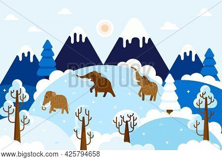 Three Large Woolly Mammoth - Vector Illustration With Prehistory Animals, Mountains And Trees In The