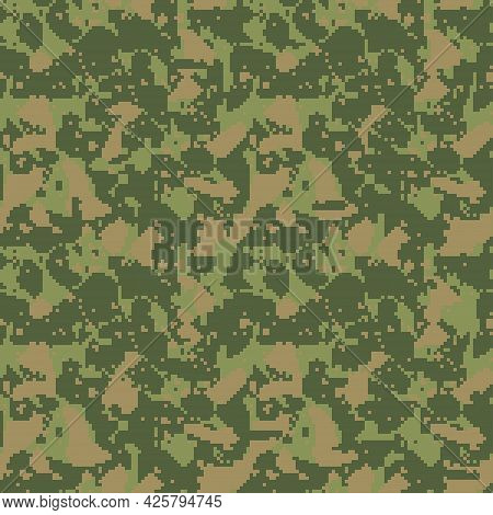 Digital Camo Background. Seamless Camouflage Pattern. Military Texture. Khaki Green Forest Color. Ve