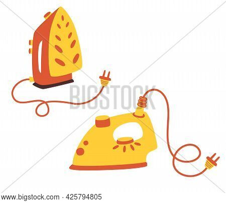 Set Of Iron For Cloth. A Regular Iron With A Socket And A Standing Iron. Electric Utensil. Device Fo