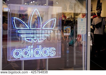 Montpellier , Ocitanie France  - 06 30 2021 : Adidas Logo Sign And Brand Text Front Of Sporty Shop S