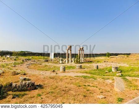 Ruins Of Ancient City, Hierapolis Near Pamukkale, Turkey