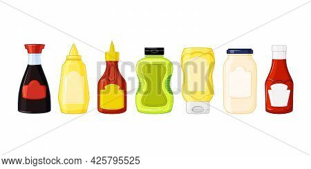 Sauces Set. Bottles With Ketchup, Mayonnaise, Wasabi, Mustard In The Cartoon Style. Food Icons, Mock