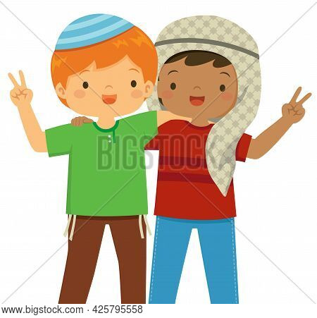 Muslim And Jewish Boys Being Friends. Concept Of Peace Between Religions In The Middle East.