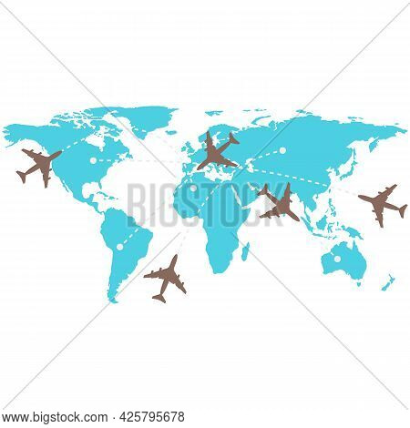 Plane Flight Map Vector, Air Path Plan Infographic On White