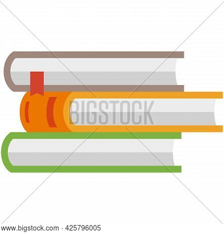 Vector Book Stack, Textbook Pile Icon Isolated Illustration