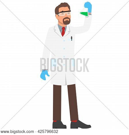 Vector Man Chemist With Flask Science Laboratory Worker Icon
