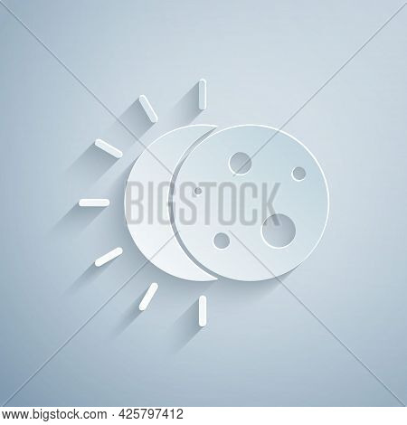 Paper Cut Eclipse Of The Sun Icon Isolated On Grey Background. Total Sonar Eclipse. Paper Art Style.