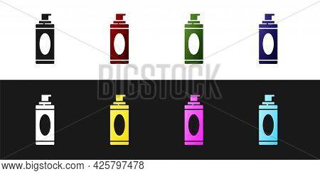 Set Shaving Gel Foam Icon Isolated On Black And White Background. Shaving Cream. Vector Illustration