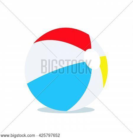 Beach Ball Vector Illustration On White Background