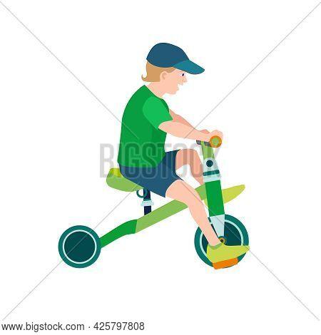 Flat Happy Kid On Bicycle. Child Riding Colorful Bike On White Background. Boy Kid Outdoor Bike Spor