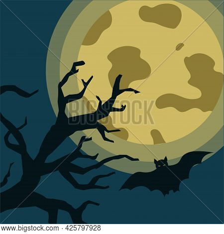 Big Moon And Silhouette Of A Tree With A Flying Bat. Gloomy Halloween Design Concept. Vector Illustr