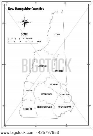 New Hampshire State Outline Administrative And Political Vector Map In Black And White