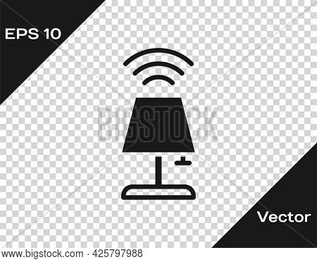 Black Smart Table Lamp System Icon Isolated On Transparent Background. Internet Of Things Concept Wi