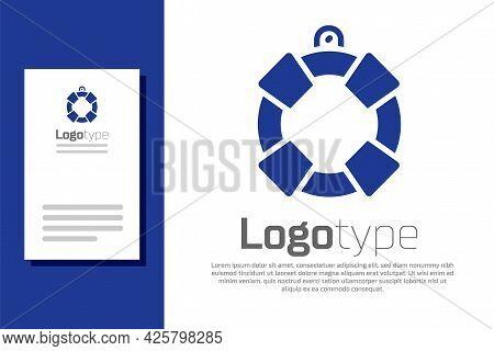 Blue Lifebuoy Icon Isolated On White Background. Lifebelt Symbol. Logo Design Template Element. Vect