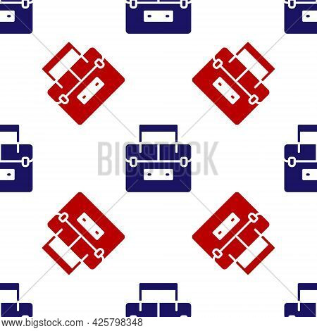 Blue And Red Case Or Box Container For Wobbler And Gear Fishing Equipment Icon Isolated Seamless Pat