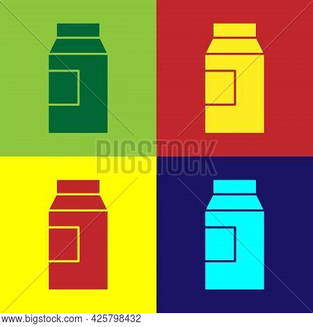 Pop Art Paper Package For Milk Icon Isolated On Color Background. Milk Packet Sign. Vector