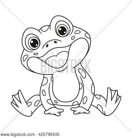Croaking Frog Sitting Coloring Page. Outline Cartoon Vector Illustration