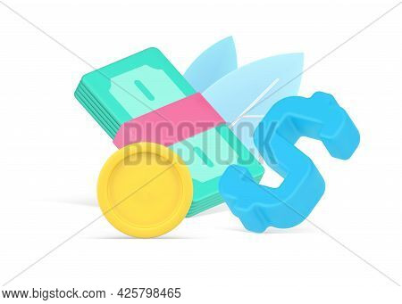 Colorful 3d Illustration Of Cash Symbols. Volumetric Bundle Of Money With Gold Coin And Dollar Symbo
