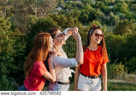 Gen Z, Friendship, Togetherness. Three Happy Girl Friends, Teenage Girls Enjoing Their Time Together