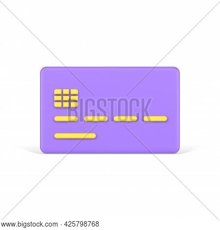 Purple Volumetric Credit Card. Plate With Yellow Number Stripes And Electronic Chip