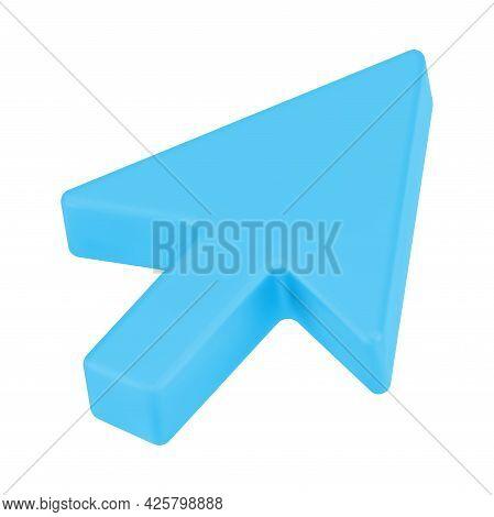 Blue Web Arrow 3d. Pointer Volumetric Mouse Cursor For Website