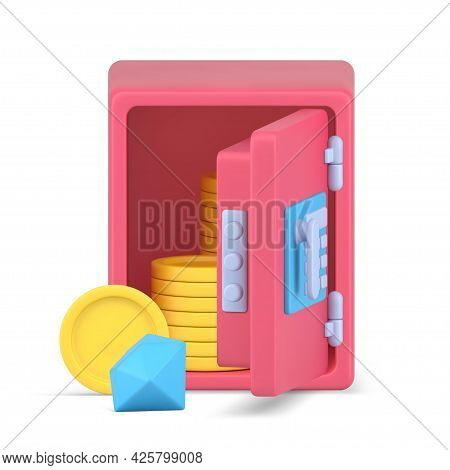 Open 3d Safe With Gold Coins And Diamonds. Pink Armored Vault With Dropped Gem And Yellow Circles