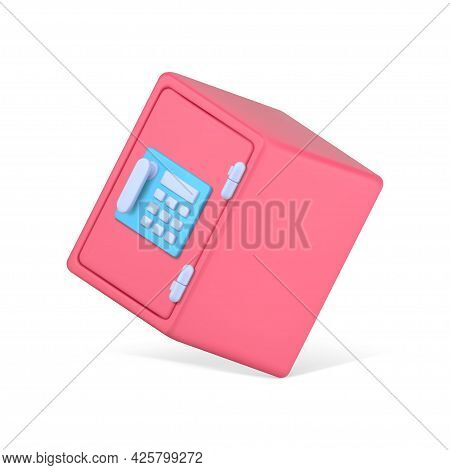 Falling Volumetric Safe. Pink Container With Combination Lock And Electronic Panel