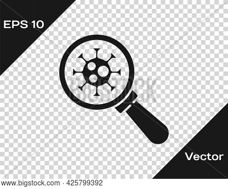 Black Virus Under Magnifying Glass Icon Isolated On Transparent Background. Corona Virus 2019-ncov.