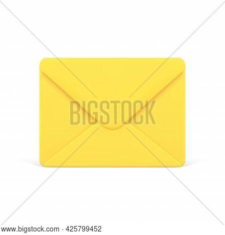 Yellow Closed 3d Envelope. Voluminous Unread Letter