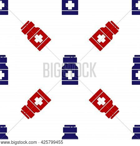 Blue And Red Medicine Bottle And Pills Icon Isolated Seamless Pattern On White Background. Medical D