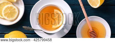 Lemon Tea With Honey Panorama. The Natural Remedy Of Sweet Raw Honey And Organic Lemons, Overhead Fl