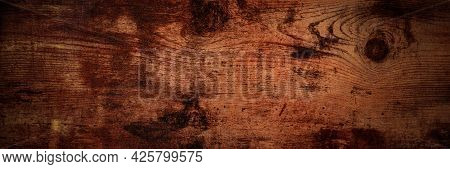 Dark Rustic Wooden Background Panoramic Banner, Abstract Brown Board Dark Surface With A Place For T