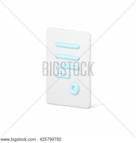 State 3d Document With Seal. Volumetric Sheet With Stripes Of Text And Round Stamp