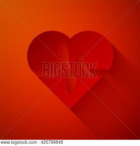 Paper Cut Health Insurance Icon Isolated On Red Background. Patient Protection. Security, Safety, Pr