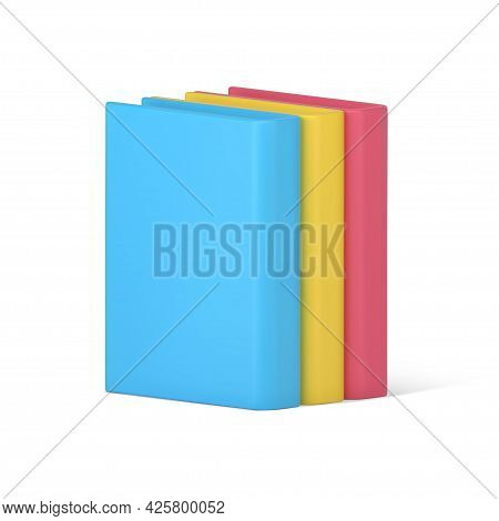 Stack Of 3d Hardcover Books. Volumetric Literature With Pink Cover