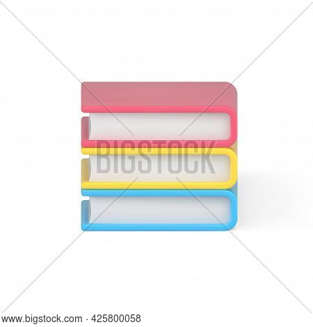 Folded Stack Of 3d Books. Pink Volume Of Educational Literature