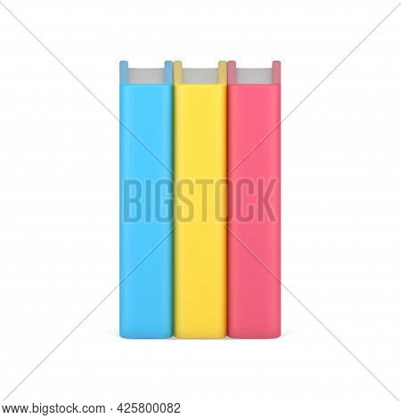 Volumetric Stack Of Color Books. Business Literature With Pink Cover