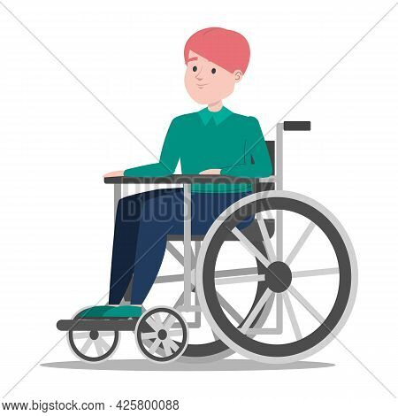 Disabled Boy In The Wheelchair Vector Isolated