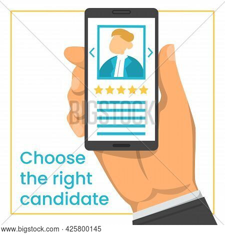 Hand Holding Smartphone With Cv In The Screen
