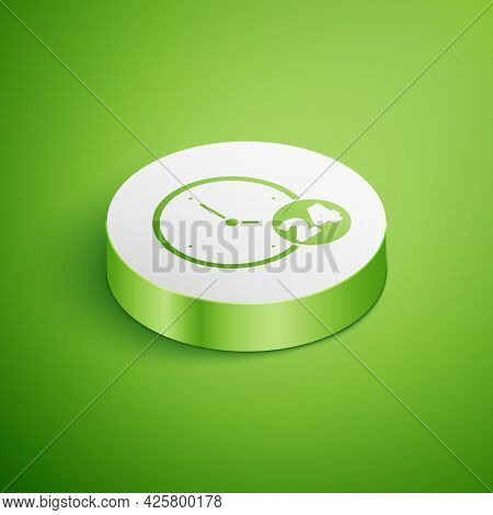 Isometric Clock 24 Hours Icon Isolated On Green Background. All Day Cyclic Icon. 24 Hours Service Sy