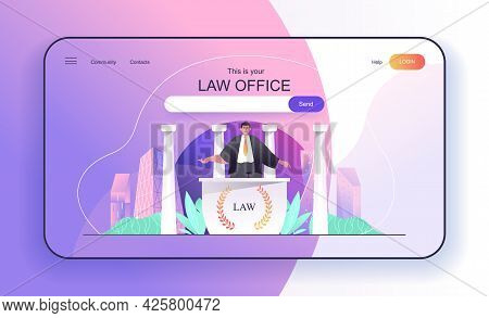 This Is Your Law Office Concept For Landing Page. Lawyer Or Attorney Consulting Clients, Legal Suppo